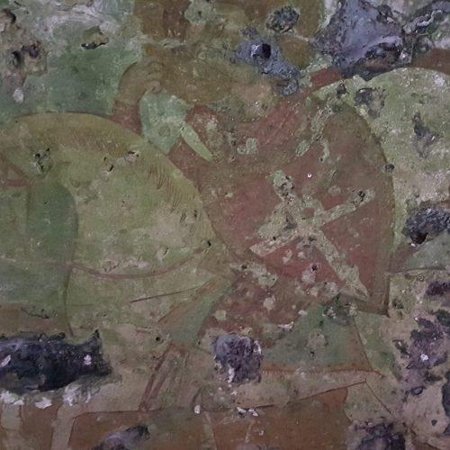 Uno degli affreschi nella cripta di Sant'Antonio Abate